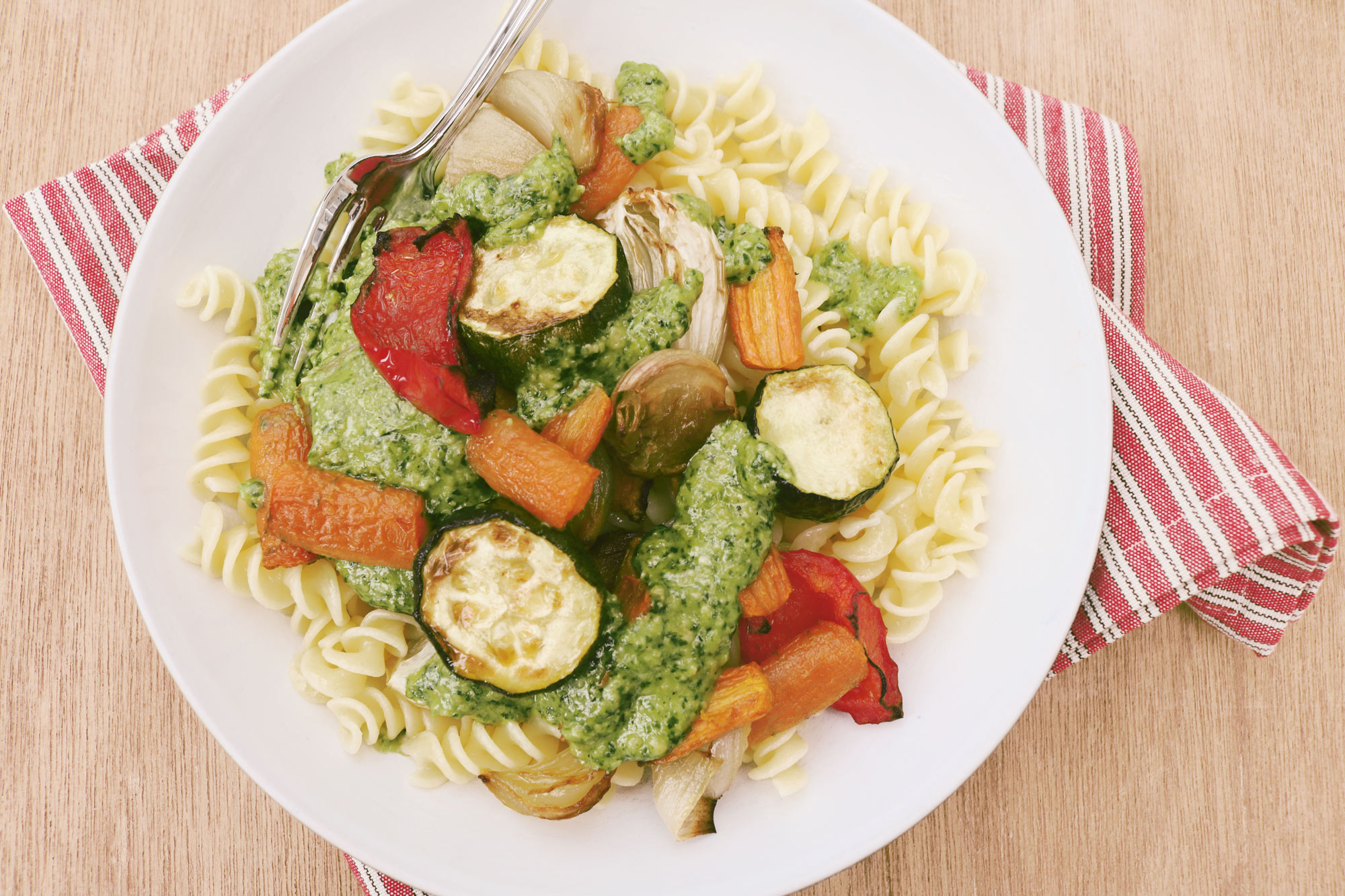 Roasted Vegetables with Pasta and Almond Pesto Dressing